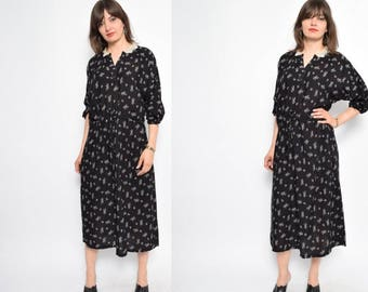 Vintage 90's Micro Floral Print Maxi Dress - Size Medium