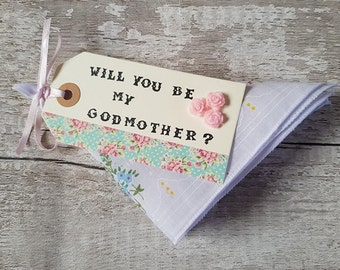 Will you be my Godmother? proposal Hankie Gift
