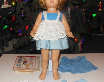 Chatty Cathy Doll with Original Blue Sun Dress 1960s Vintage Mattel Doll Toy With Extras