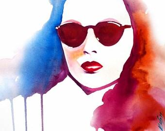 Gene Tierney original watercolour painting, fashion Illustration, Old Hollywood, Blue, Sun Glasses 1940s hair Salon decor