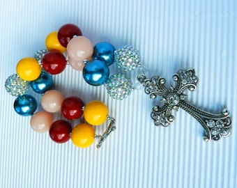 Country Girl Cross, Chunky Bead, Rhinestone Cross Necklace, Multi Colors, Girls Necklace, Bubblegum Jewelry, Religious, Cowgirl