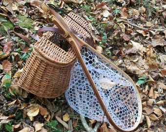 Walnut/Ash Medium Size Landing  Net with Built-in Magnetic Release, soft clear rubber netting and safety tether;Free Priority Mail shipping