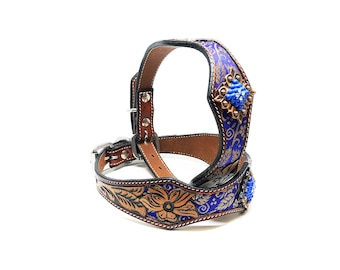Handmade Leather MadcoW Western Hand Floral Tooled Blue Brocade Inlay Canine Cowhide K9 Dog Pet Puppy Collar Fully Adjustable Heavy Duty