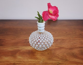 Fenton Hobnail French Opalescent Bud Vase, Fenton Art Glass Perfume Bottle, Easter Decor, White Wedding Gift, Moonstone
