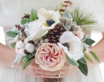 Custom Silk Flower Bouquet, Artificial Bridal Bouquet, Winter Wedding Bouquet, Artificial Bouquet, Bridesmaid Bouquet, Faux Bouquet