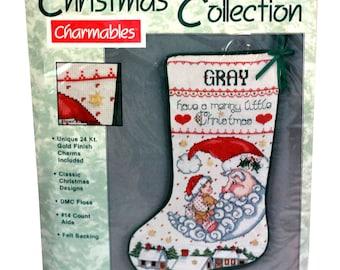 "Needleform counted cross stitch stocking kit #82213 Santa Moon 12"" x 16"" Sealed"
