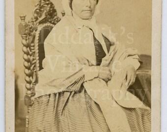 CDV Carte de Visite Photo Victorian Seated Old Lady, Hoop Dress & Bonnet Portrait Dated 1869 - Odinot Nancy of Paris France - Antique Photo