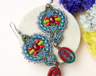 Macrame earrings, flowers, Picasso glass, beaded, bohemian, extra long, micro-macrame jewelry, beadwork, beadwoven, green red, gift idea