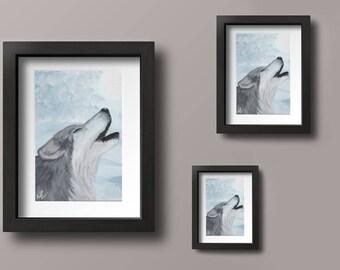 Digital Print of Acrylic Wolf Painting on Wood