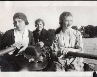 Vintage Snapshot Photo Dramatic Girl and Friends in Row Boat Hat's Off 1920's, Original Found Photo, Vernacular Photography