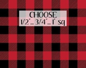 "Black & Red Buffalo Plaid Fabric by the Yard Cotton Quilting Check Fleece Fabric Cotton Lumberjack Nursery Fabric 1"", 3/4"", 1/2"" 6975425"