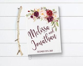 Marsala Wedding Guest Book, Floral Burgundy Guest Book, Marsala Guest Book, Fall Wedding Guest Book, Marsala Floral Wedding Guest Book