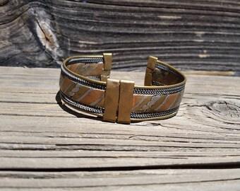 "Vintage Brass Sterling & Copper 3/4"" Cuff Bracelet"