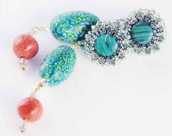 Earrings Novelove #Turquoise Italian Style Beads Earrings# green and orange Earrings #beadsembroidery work#fauxstones jewellery #handmade