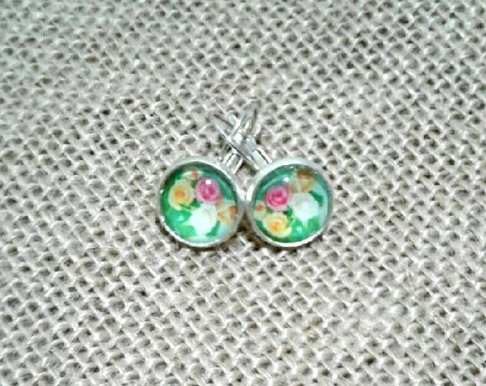 FREE SHIPPING AUSTRALIA only 12mm Silver colored Cabochon earring featuring pink yellow and white roses