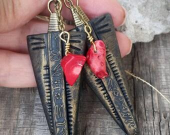 Black Triangle Earrings Boho Gemstone Earrings Bohemian Jewelry Coral earrings Boho Casual Hippie Earrings Tribal Earrings Girlfriend Gift