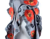 Nuno felt poppy shawl for elegant women, large chic & stylish shawl with big red flowers, gray comfortable patterned shawl for evening [S23]