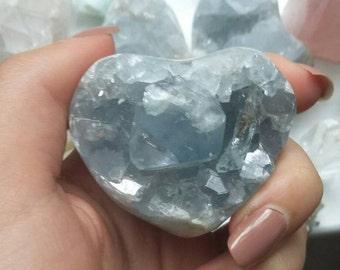 Mini Celestite Heart Geode, Soft Blue Celestite Heart, Grey Blue Celesite, Celestite Crystal Cluster, Celestine Heart, Celestite Geode #1