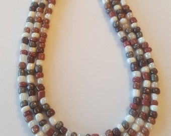 Seed bead necklace - necklace - Neutral seed bead necklace in your choice of lengths - brown seed bead necklace - grey seed bead necklace
