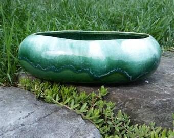 Vintage Roseville Pottery Green Drip Glaze Shallow Planter, Robinson Ransbottom Pottery, RRP Co