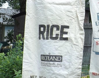 Cotton Rice Bag, 50 Pound Size Grain Bag, Black Printing on Front Only, Craft Supply, Vintage Rice Sack, Country Farm or Kitchen Decor