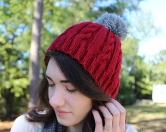 Hand Knit Cable Beanie//(Beige and Dark Red Shown)