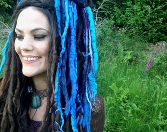 Mermaid 'Merlocks' Festival Hair, Felted Dreads, Dread Falls, Pixie, Fae, Hair Accessories, Fantasy Headpiece, Hippie Hair