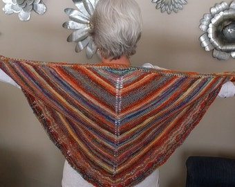 Lace Edge Shawl, Hand Knit Shawl, Scarf, Shoulder Cozy, Multi Colors Shawl This one only