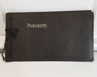 Antique Black Photo Album W/40+ Black-And-White Original Snapshots