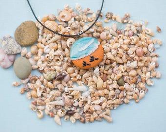 Beach Polymer clay pendant, sea pendant, rounded pendant, polymer clay pendant, ocean, sea sand, seagull, calm pendant, nature pendant