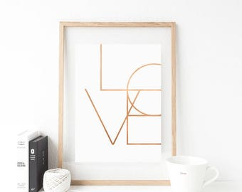Rose gold Love print, love sign, Love wall art, Love, Love Poster, Love Cooper, Love Printable, Love Art, Scandinavian poster