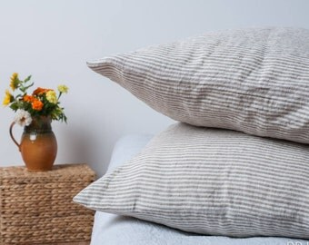 Stone Washed set of 2 STANDARD and sizes 24' 26' 28' 30' striped linen pillow covers flax linens housewares bedroom pillow cases