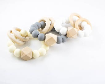 Natural Teether - Organic Teether - Silicone Teether - Wooden Teether - Natural Baby Teether -  Organic Teether