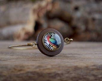 Parrot bracelet, Colorful parrot bangle, Parrot jewelry Macaw bangle bracelet, Exotic bird bracelet, Tropical bird bangle Wood bangle TJ 071