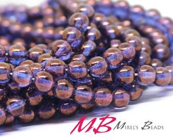 50 8mm Purple Pierced  Druk Beads, Purple luster Czech Round Druk Beads