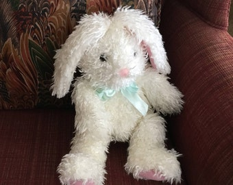 Curly Haired Floppy Eared Bunny Rabbit Plush W Pink Nose and Green Ribbon, Scruffy White Long Eared Bunny, Pier 1 Bunny