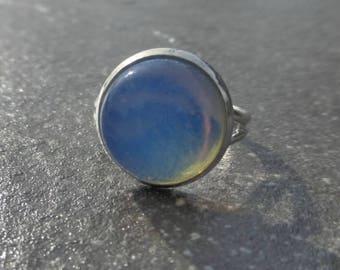 Opalite Moonstone Gemstone Platinum Plated Adjustable Ring - Silver Statement Ring - Sea Opal - Boho - Gypsy