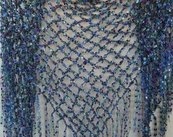 CROCHET sparkle ribbon triangle Scarf FRINGE/ladder ribbon/summer scarf/engagement gift/lover's knot stitch/blue teal aqua purple