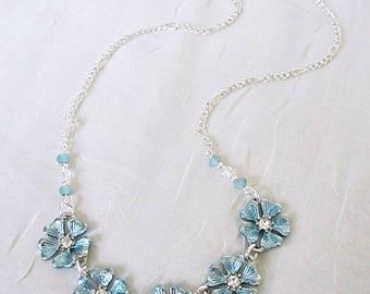 Flower Necklaces, Aqua Flower Necklace, 5-Flower Link Necklace, Painted Aqua Floral Necklace, Floral Necklaces, Floral Circlet Necklace