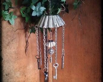 Handmade silver junk found items windchime