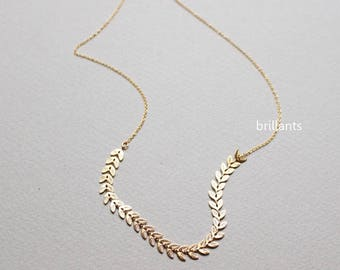 Dainty Fishbone necklace, Leaf necklace, Chain necklace, Geometric, Wedding necklace, Everyday, Minimal, Bridesmaid gift
