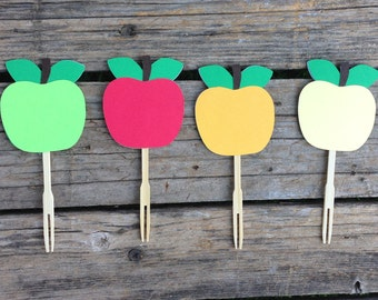 Apple Party Cupcake Toppers - Apple Of My Eye Party, Fall Party, Birthday Party, Party Decorations, Baby Shower