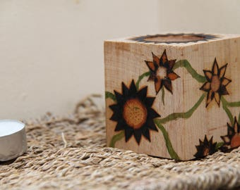 Wood candle holder - Flowers and vine - housewarming gift