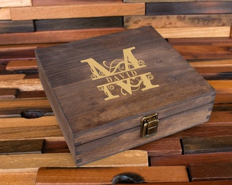 Personalized Cigar Box Groomsman Gift For Man Engraved Wood