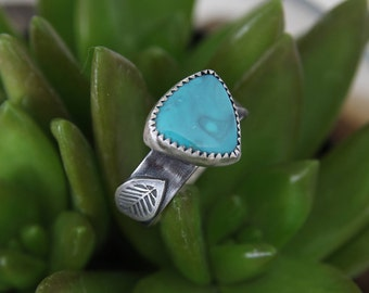 Blue Turquoise Ring, Sterling Silver, handmade ring, boho, blue stone, one of a kind ring, nature ring, nature lover, OOAK