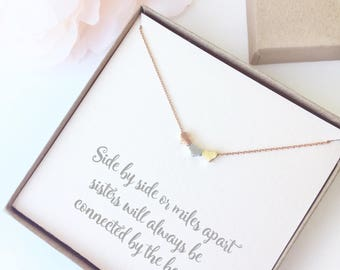 Three Hearts Sister Necklace - Heart Charm Necklace Gift - Sisters Necklace Quote Gift - Three Sister Gift Necklace Heart - Best Friend Gift