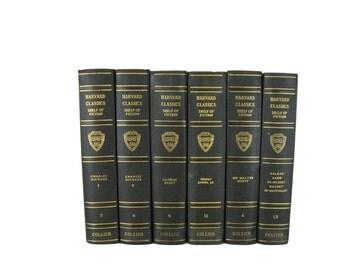 Harvard Classics, Vintage Books, Interior Design, Home Decor,  Decorative Books, Dark Green Harvard Classics, Staging Prop