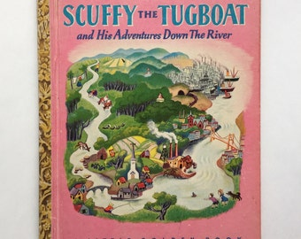 Collectible Tibor Gergely Illustrated Scuffy the Tugboat and His Adventures Down The River ~ A Little Golden Book