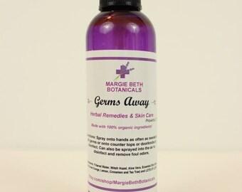 Organic Germs Away / Hand Sanitizer/ Disinfectant Spray 4 oz.