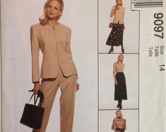 McCalls 9097 Suit Separates from Jones New York Lined Jacket, Pants and Skirt - Size 10 or 14